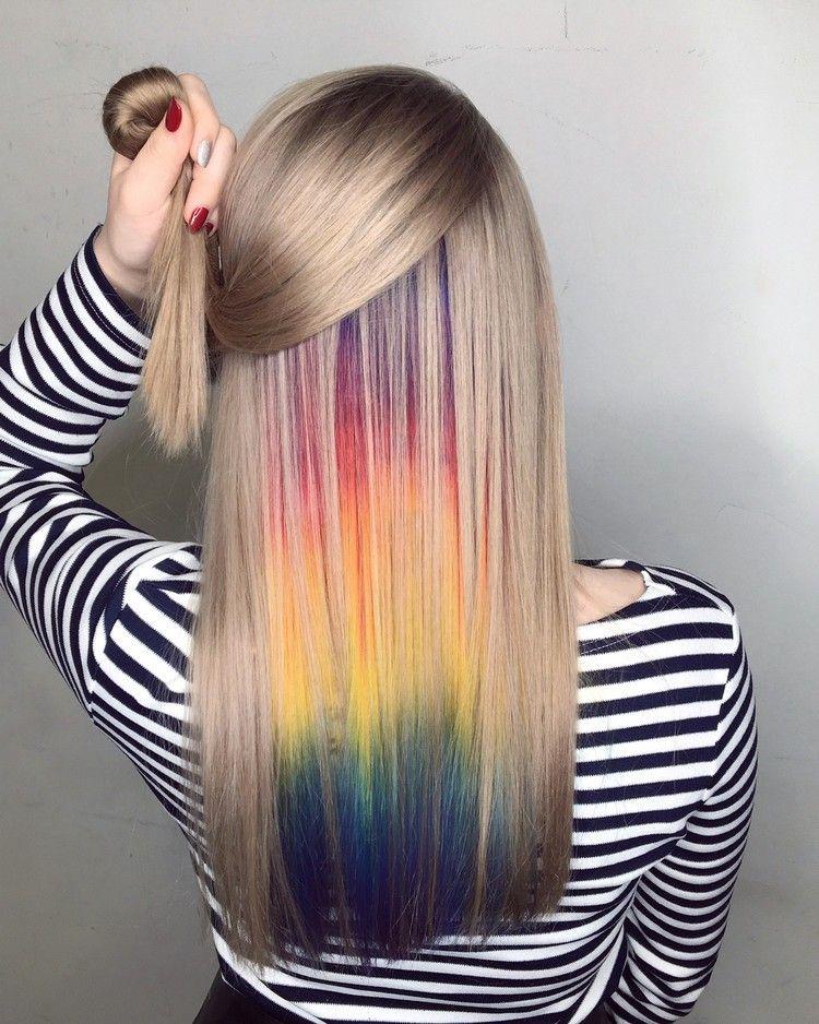Hidden Rainbow Versteckte Regenbogen Haare Liegen Im Trend Haarfarben Trend Haarfarben Versteckte Haarfarbe
