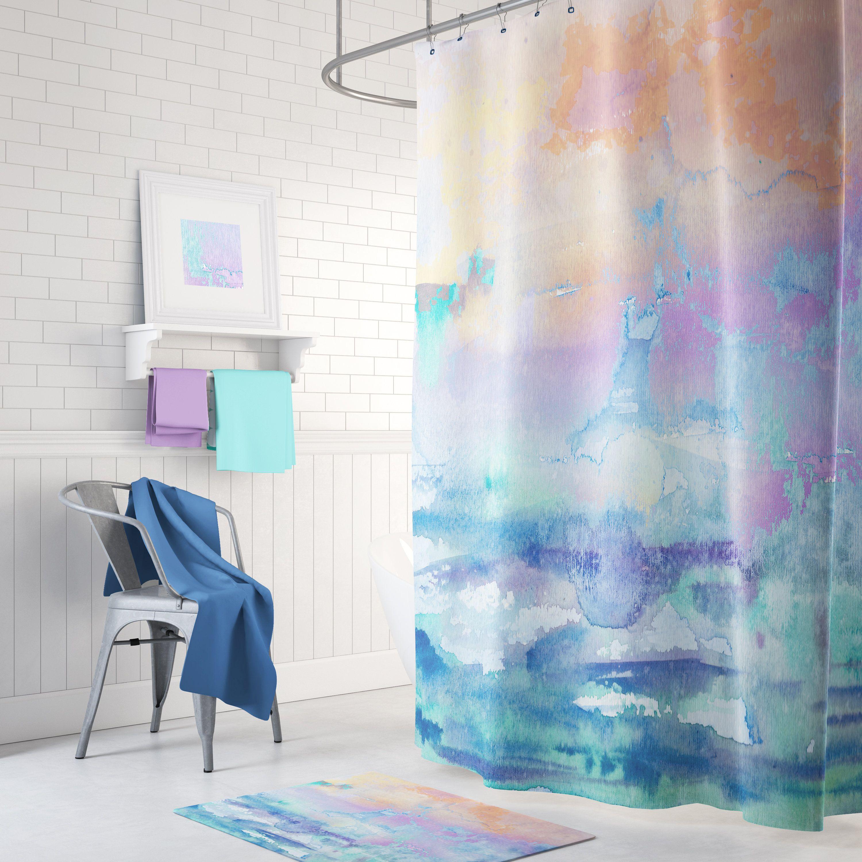 Watercolor Shower Curtain Soft Yellow Blue Aqua Sunset Beach