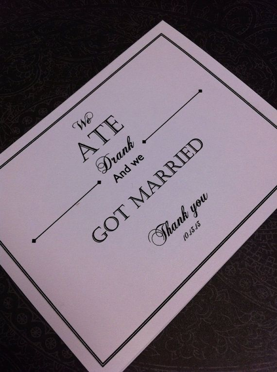 We ate drank and got married wedding thank you notes Invitations