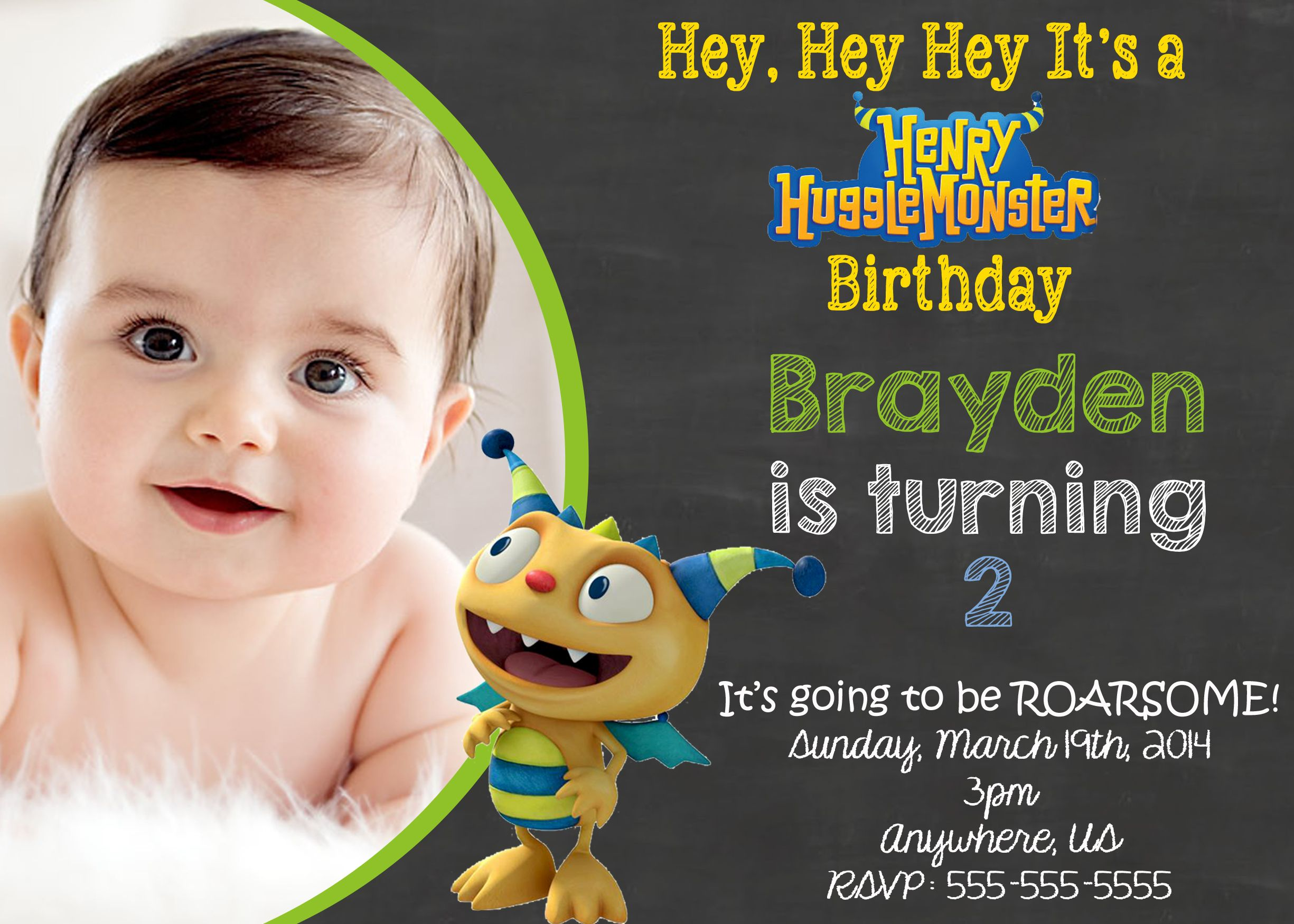Henry Hungglemonster Birthday Invitations $8.99