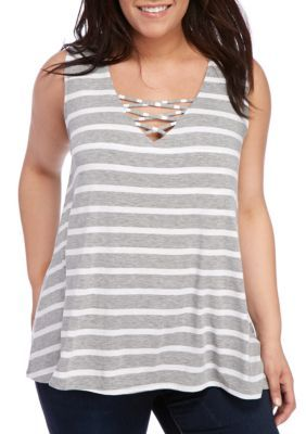 Living Doll GrayWhite Plus Size Striped Lattice Swing Top