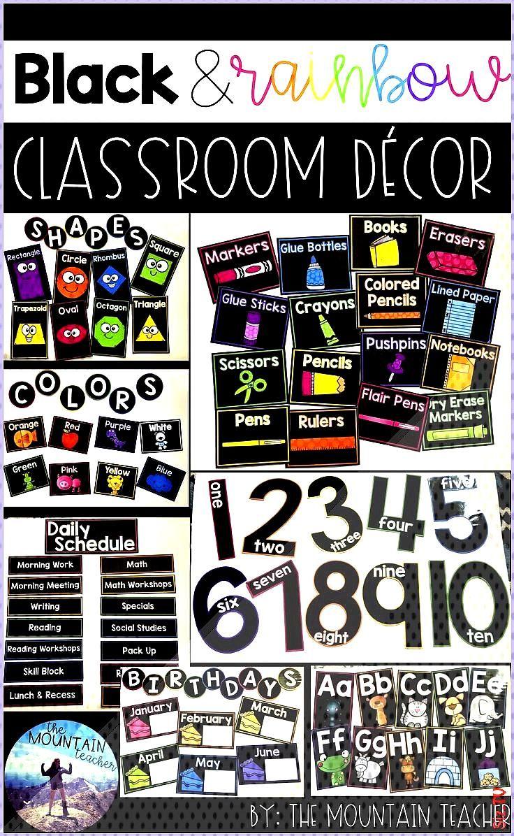 Black and Rainbow Classroom Decor Black and Rainbow Classroom Decor Bella Noire Bella Noire This cl