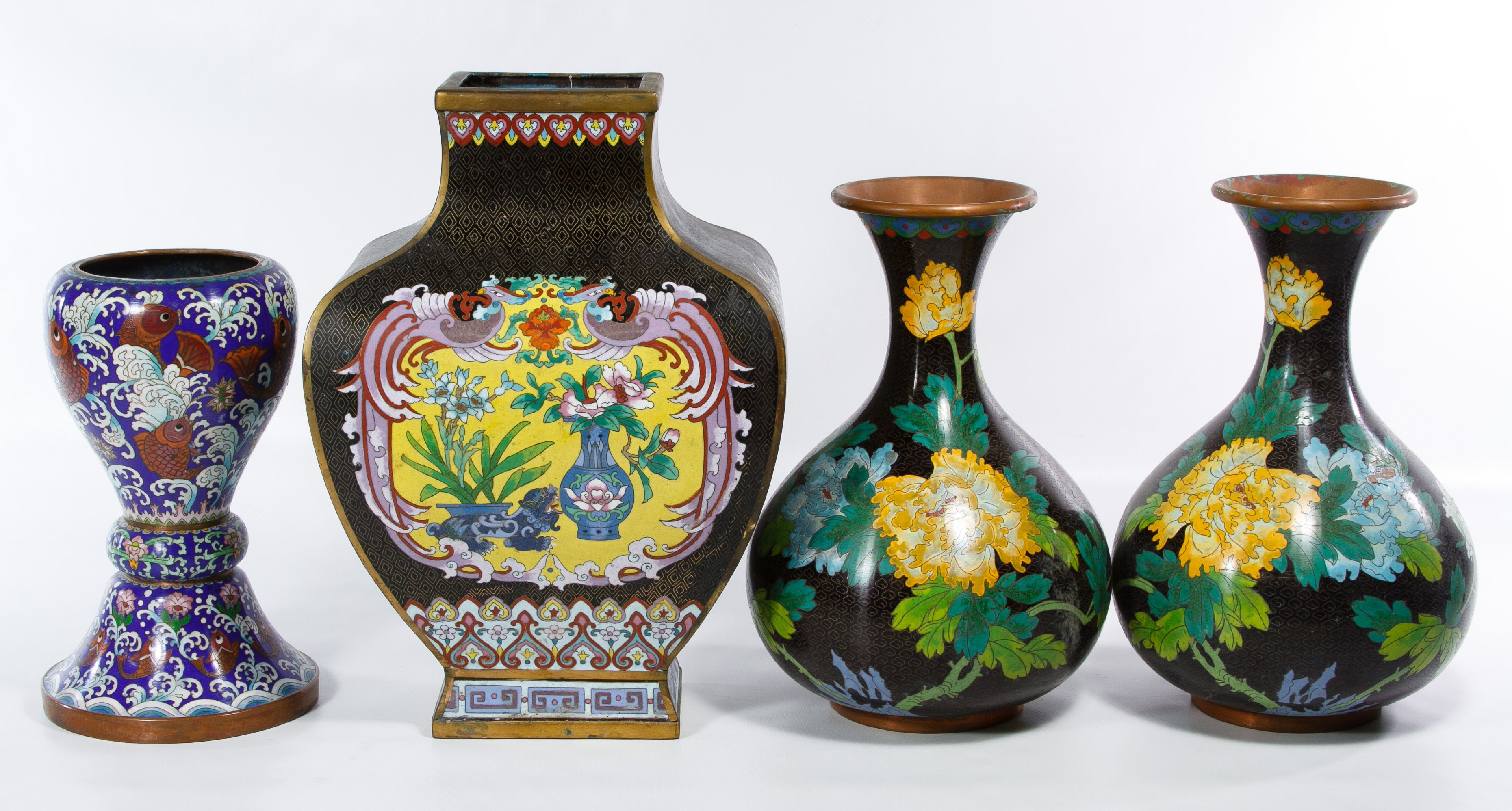Lot 500 Asian Cloisonne Lidded Jars Having A Pair Of