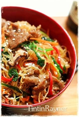 resep japchae tintin rayner Japchae with Beef Korean Noodle,aka Soun Ala Korea pake Vermiceli aja