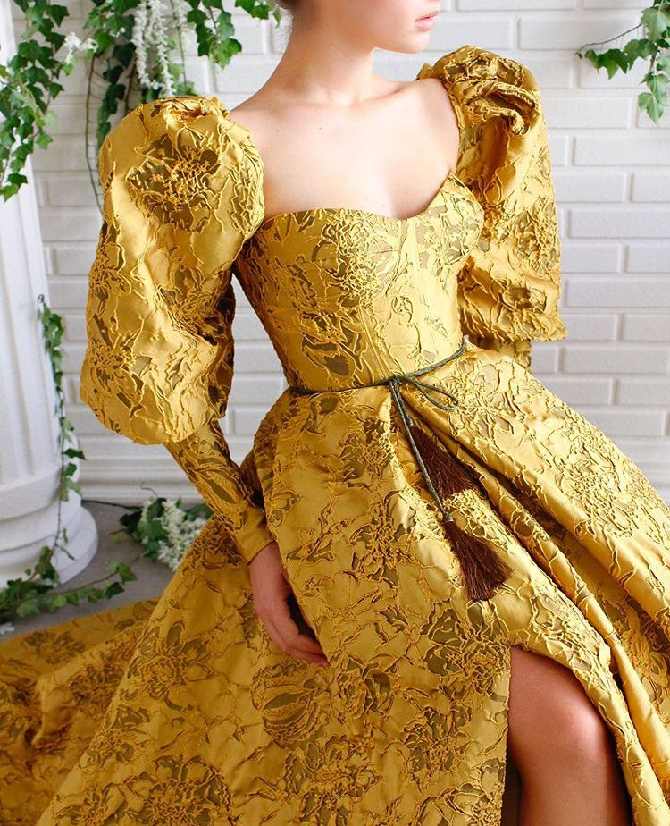 Serafina puff sleeve gown in gold brocade | Gowns dresses, Elegant dresses,  Fairytale dress