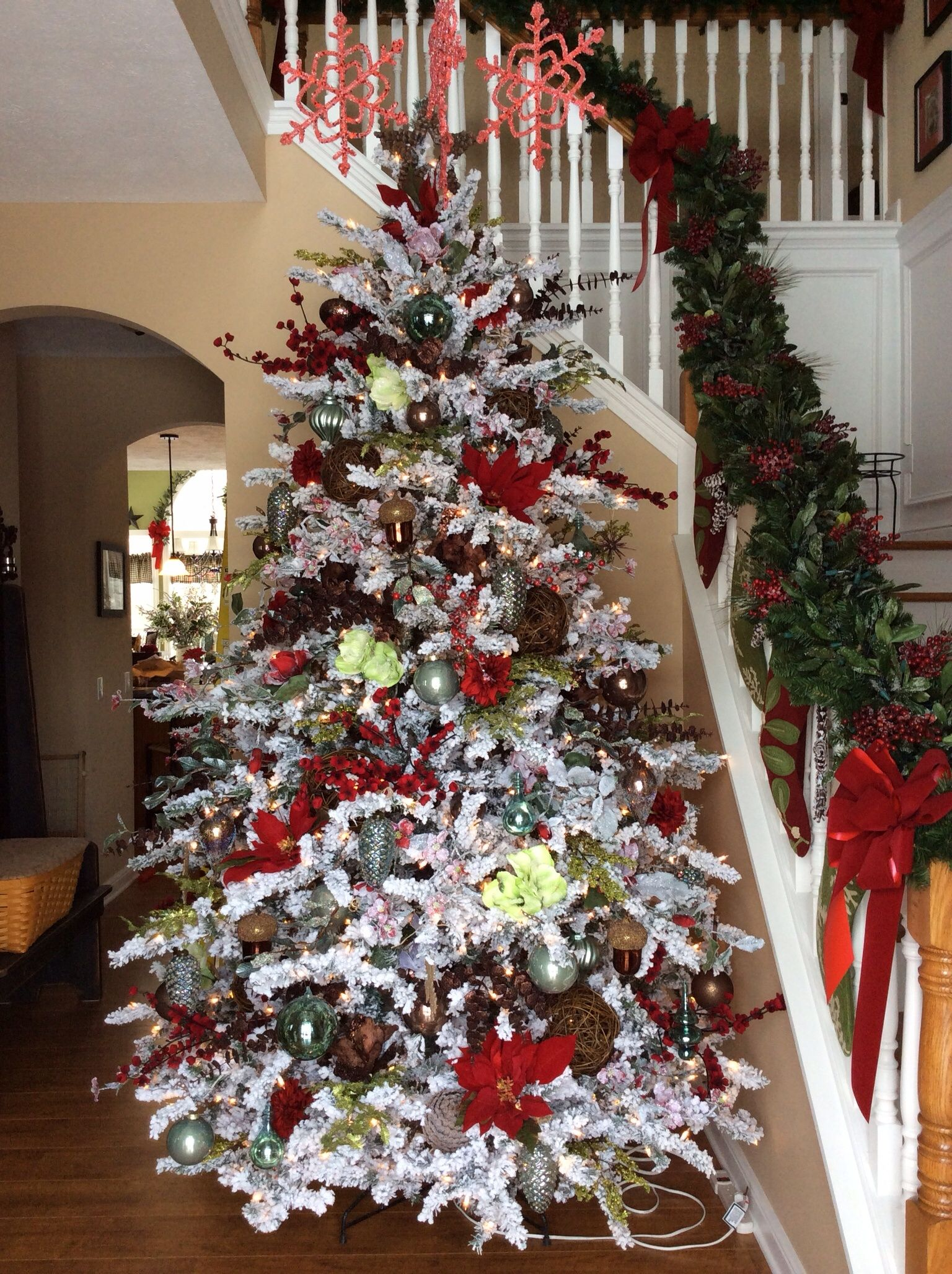 Snow Flocked Tree With Blue Red Brown And Green Green Christmas Tree Christmas Staircase Flocked Christmas Trees