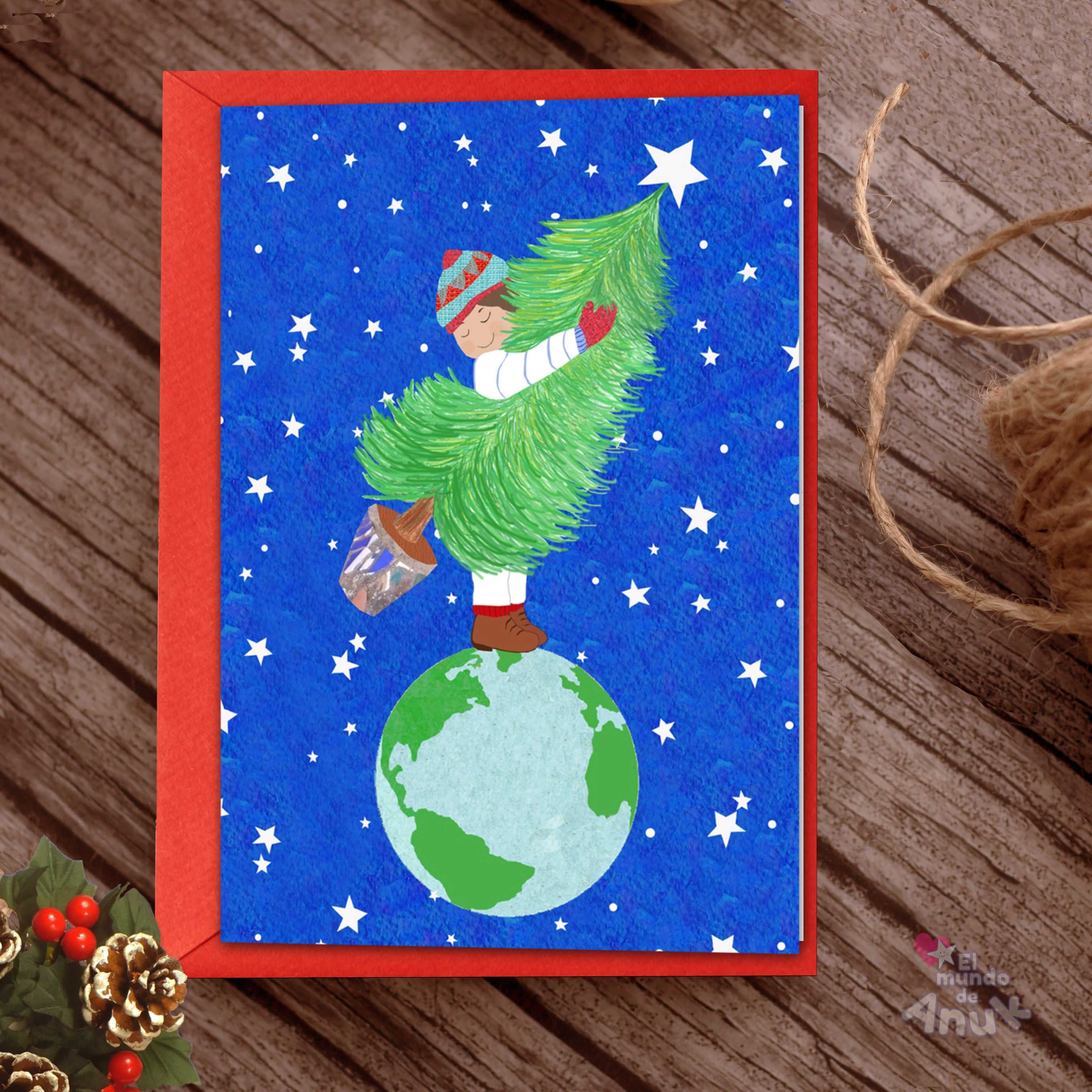 Peace All Over The World Christmas Tree Card Holiday Card Winter