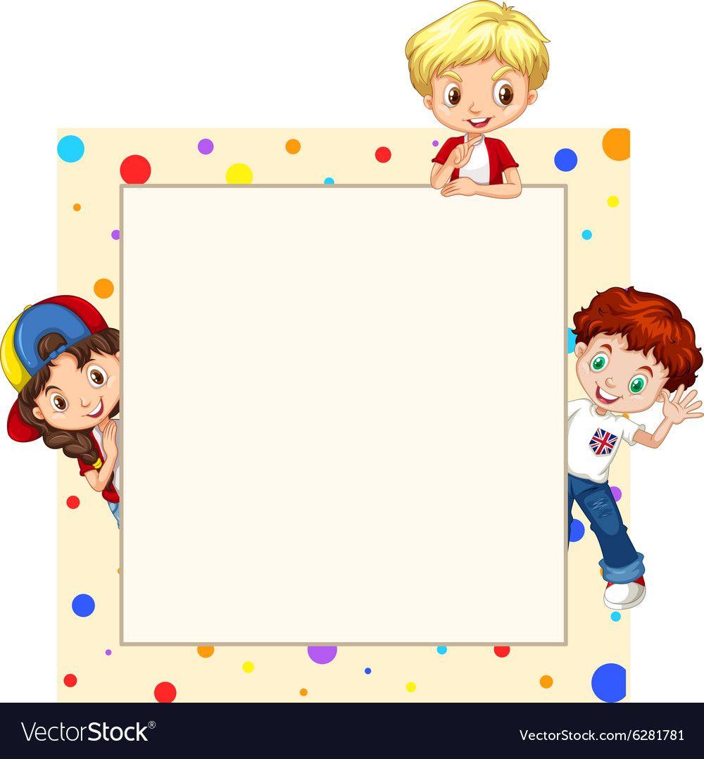 Border Design With Children Vector Rahmen