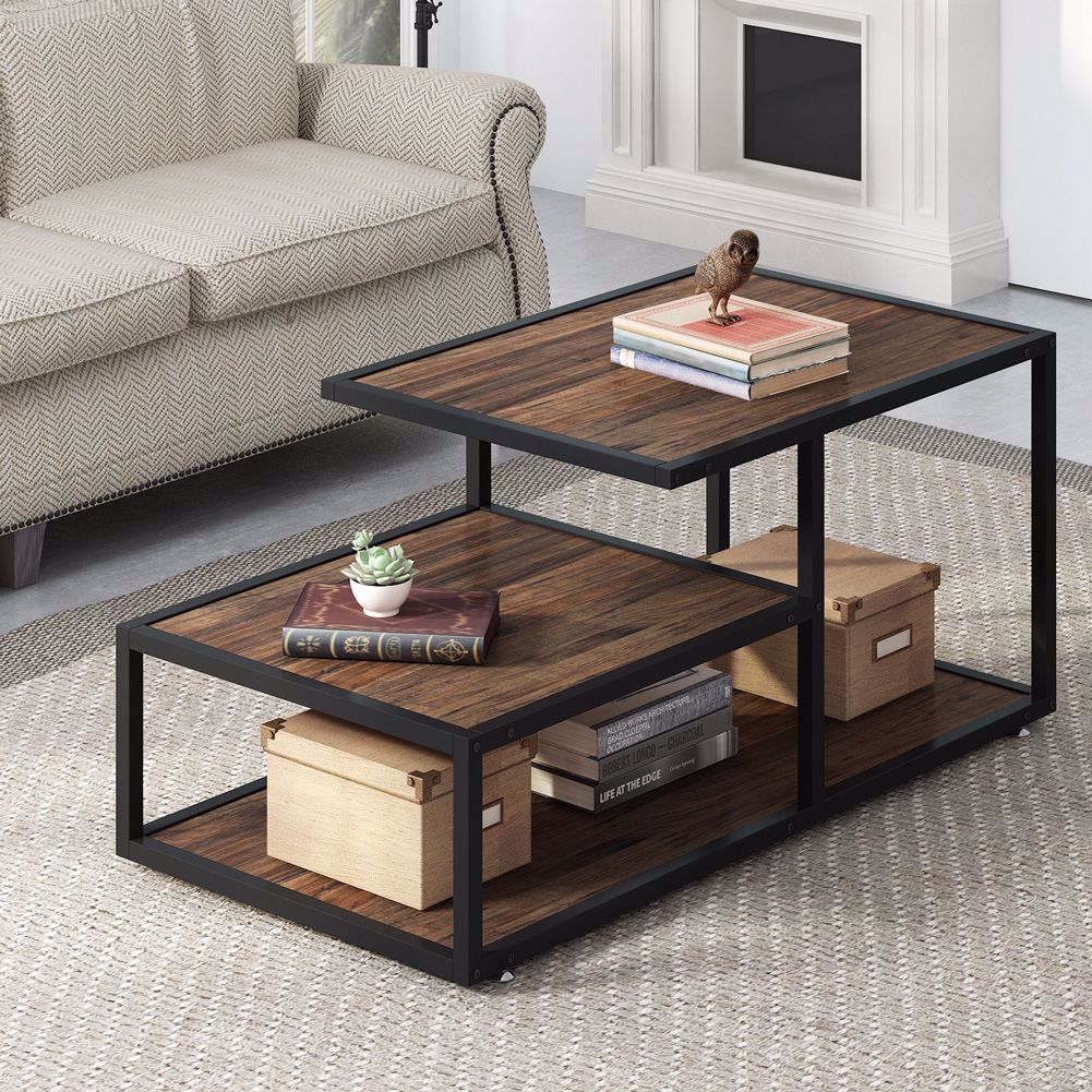 Rustic Industrial Style Clean Classic Design Meets Rustic Industrial Style In This Charismatic Co Coffee Table Rustic Coffee Tables Coffee Table With Shelf