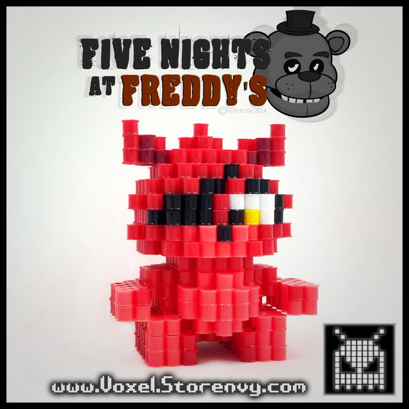 3D Foxy (Five Nights at Freddy\'s) perler beads by Voxel | 3d perler ...