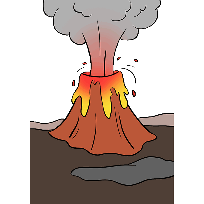 How To Draw A Volcano Really Easy Drawing Tutorial Drawing