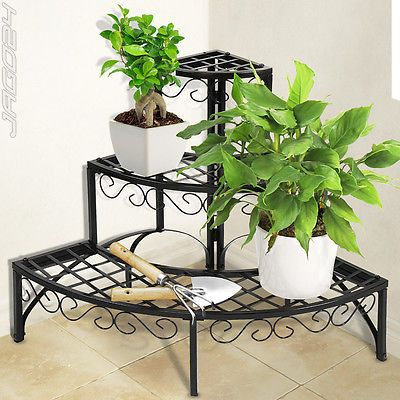 Iron plant stand shelf 3 tier garden patio indoor corner outdoor storage round in garden patio - Corner shelf for plants ...