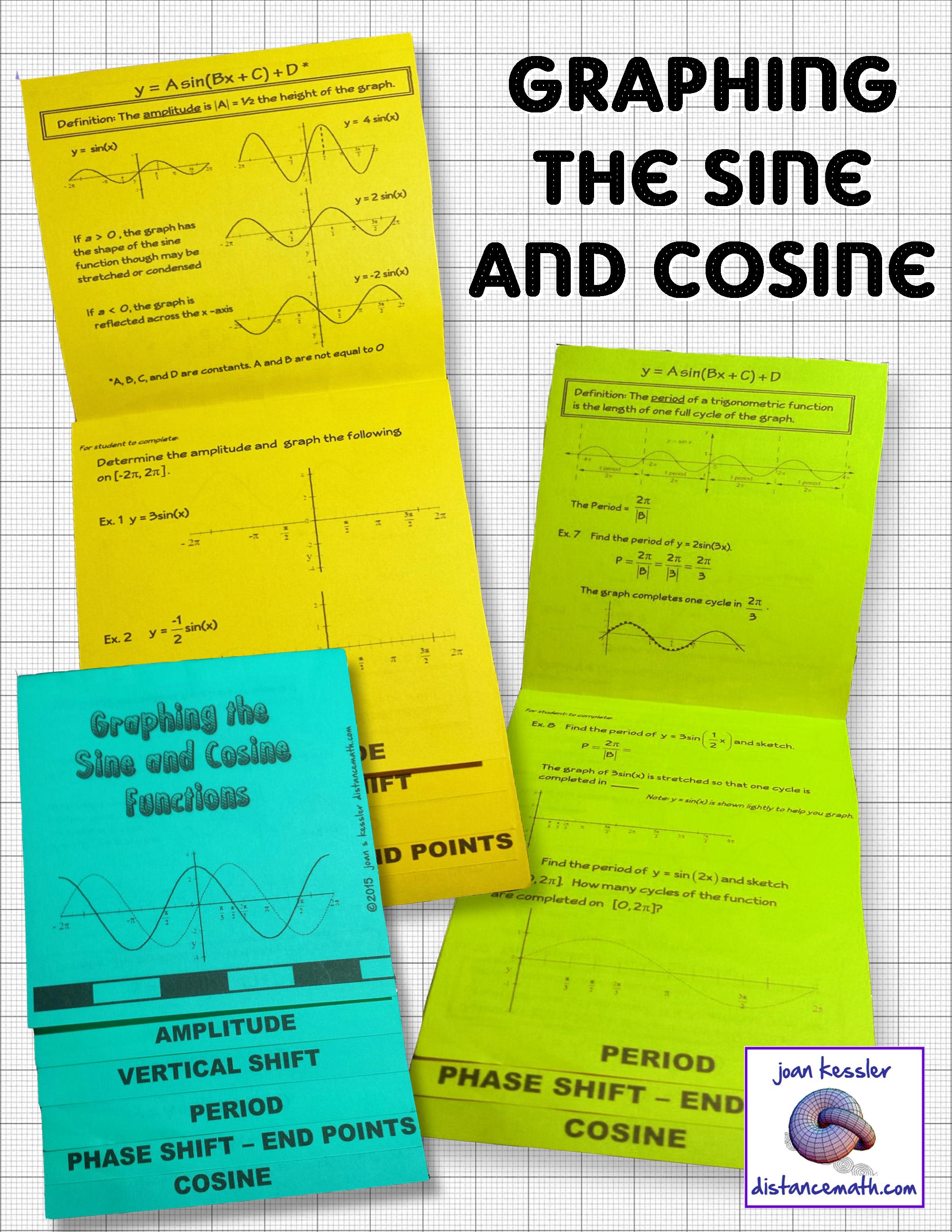 Trigonometry Graphing The Sine And Cosine Flip Book