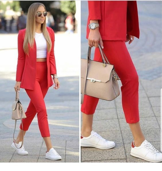 Red Suit White Top And Sport Shoes Fashionable Work Outfit Classy Outfits Fashion