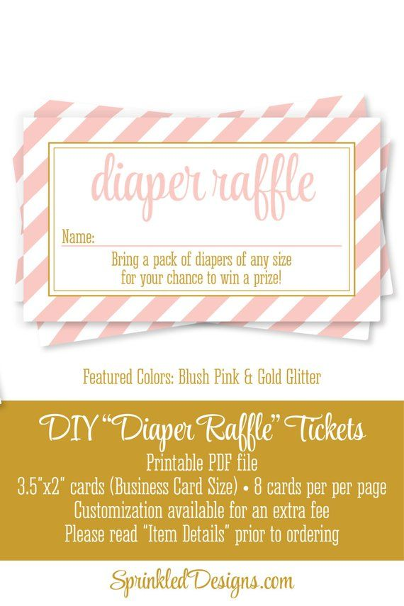 Printable Diaper Raffle Tickets  Sign for Girl Baby Shower - Blush