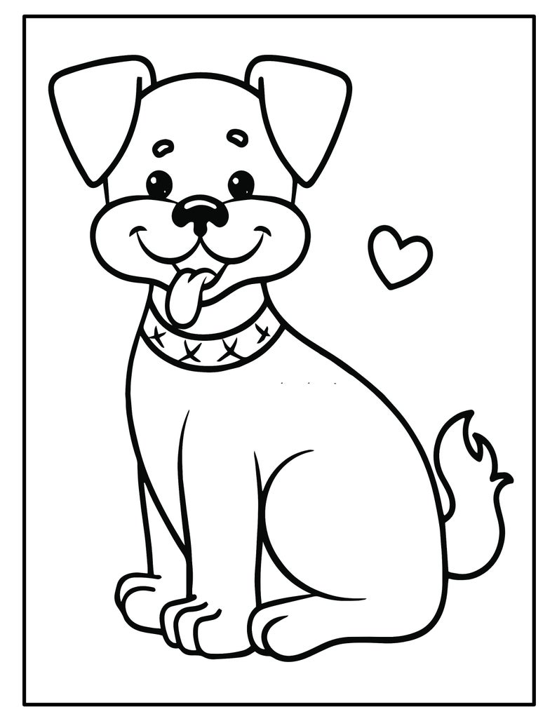 Printable Puppy Coloring Pages Kids Party Games Birthday Etsy Puppy Coloring Pages Dog Coloring Book Coloring Pages