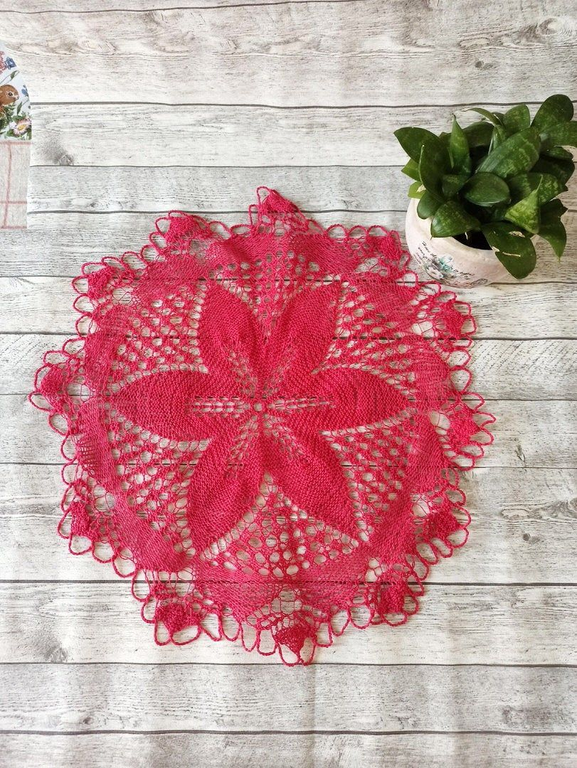 Vintage kitchen decor Knitted Cup holder Handmade crocheted kitchen doily Vintage doily. Handmade knitted decor
