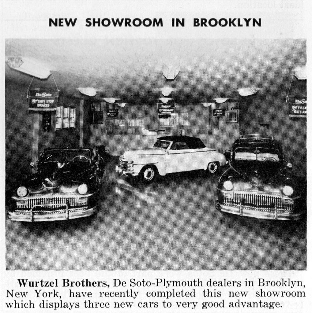 Car Dealerships In Brooklyn >> 1947 Wurtzel Brothers Desoto Plymouth Dealership Showroom Brooklyn