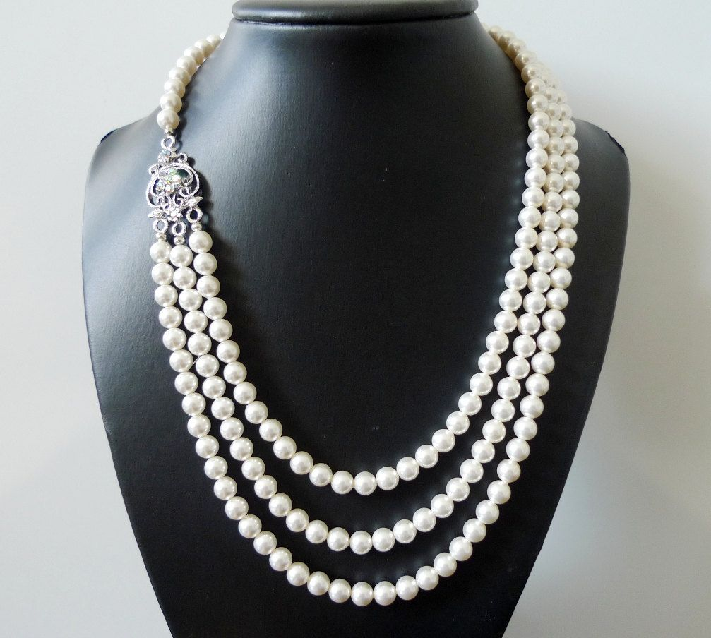 Bridal Pearl Necklace -  Multistrand Pearl Necklace - Rhinestone Pendant  - Bridesmaids Pearl Necklace - Sue. $69.00, via Etsy.