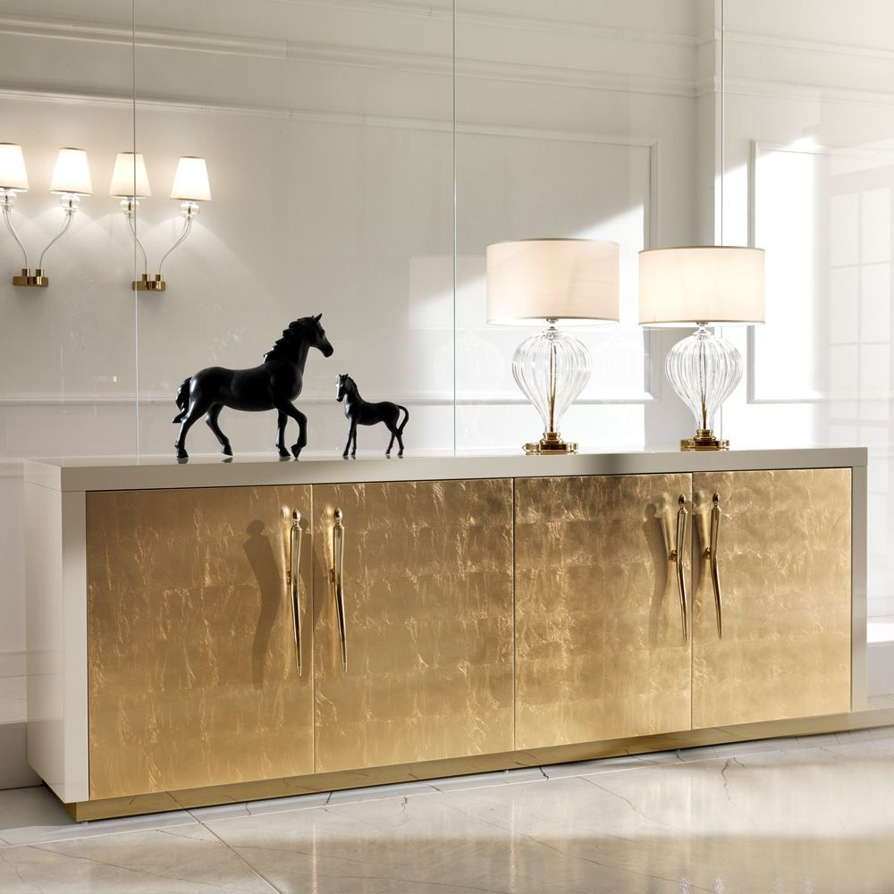 15 High End Contemporary Dining Room Designs: Large High End Gold Leaf Sideboard In 2020