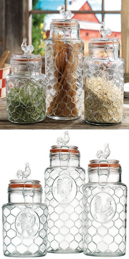 Set Of 3 Glass Rooster Canister Assorted Size Jars With Lid Fair Kitchen Jar Set Design Ideas