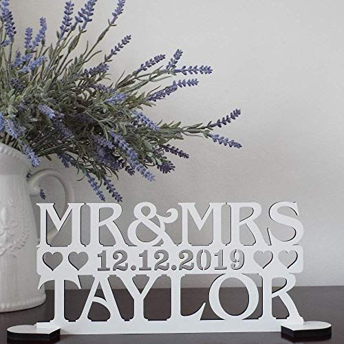 Personalised wedding sign two names and date top table decoration