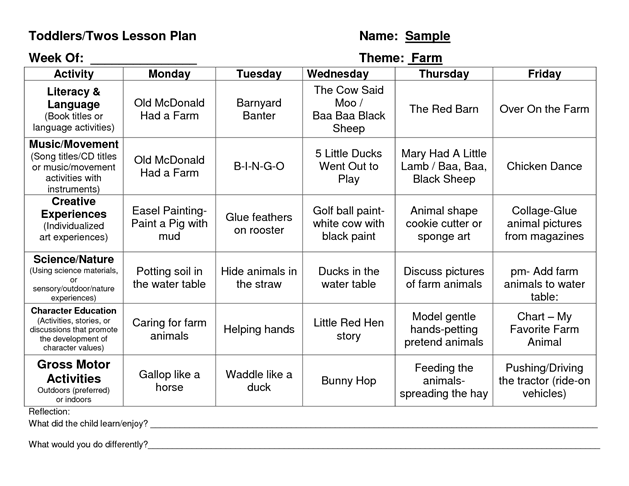Provider Sample Lesson Plan Template  Classroom Ideas