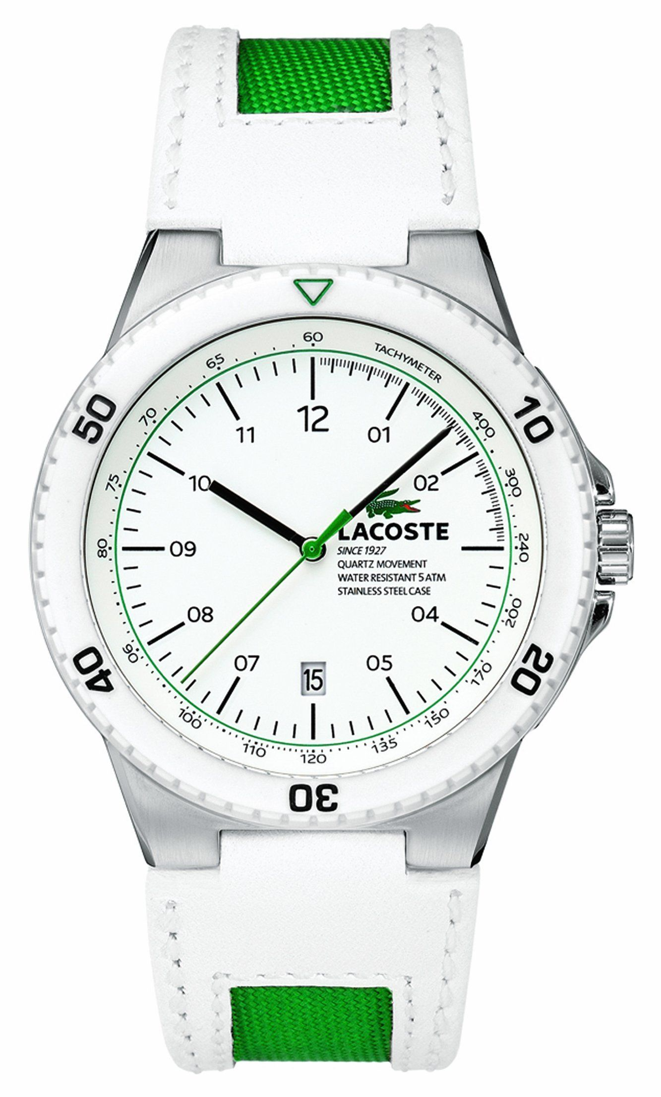 lacoste s toronto white green watches kol saati