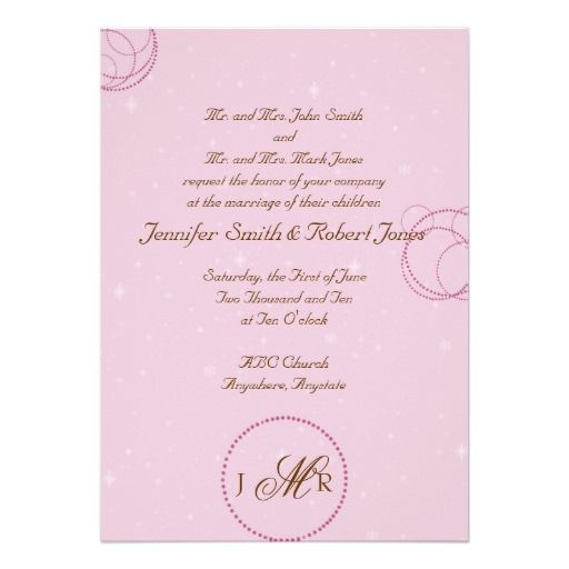 This modern invitation is perfect for your winter wedding. It has a pretty pink background with pale white snowflakes. At the bottom is a darker pink circle with your monogram and initials. There are also polka dot circle designs in the upper left corner and on the right side. Your text is in chocolate brown. #wedding #invitation