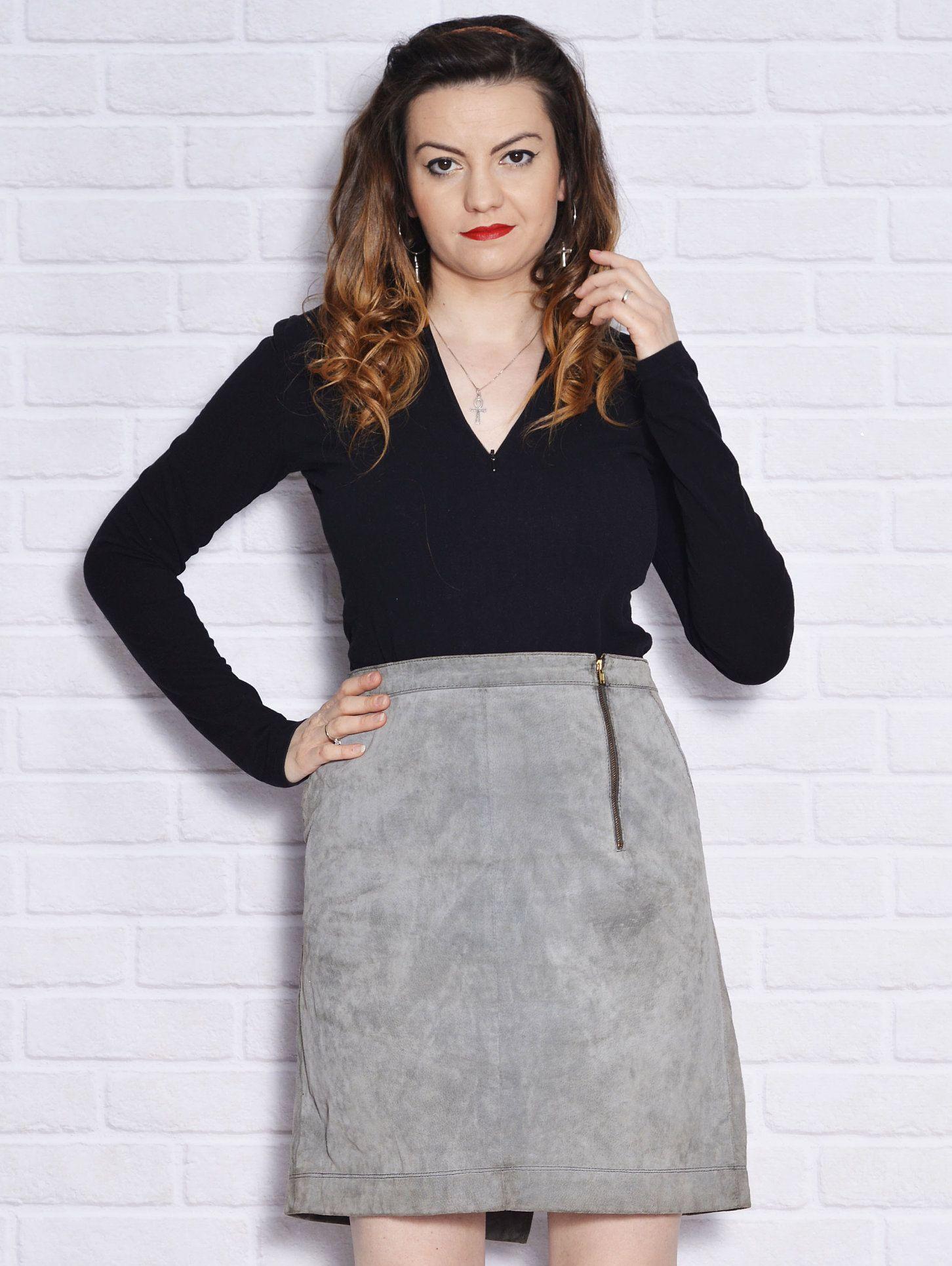Vintage leather mini skirt , plus size suede skirt , 1990s
