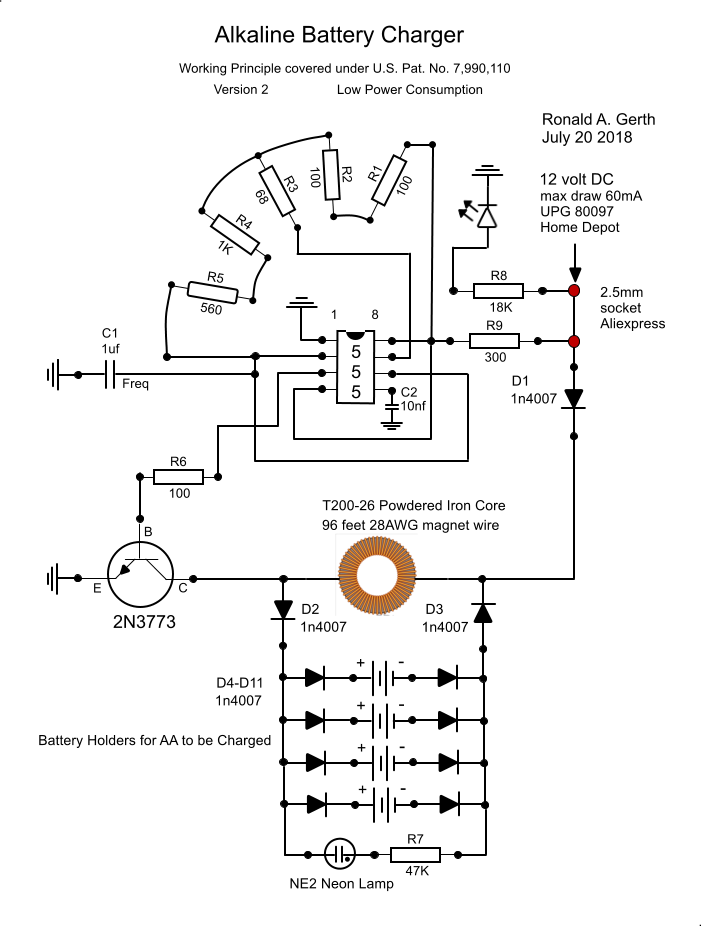 My Personal Circuit Design To Fully Re Charge Non Rechargeable Alkaline Batteries In A Safe Reliable Battery Charger Circuit Alkaline Battery Circuit Design