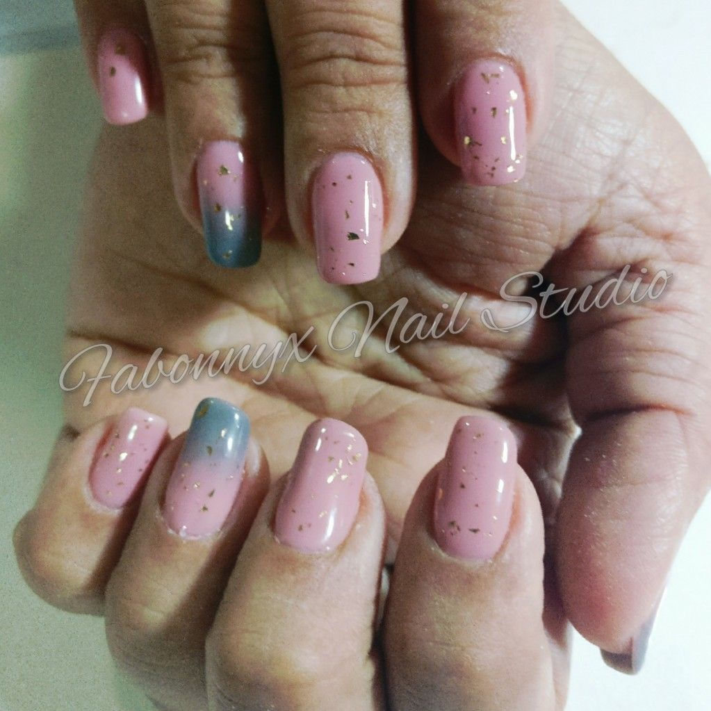Ombre gel extensions with rose gold gel polish. Grey and rose gold ...