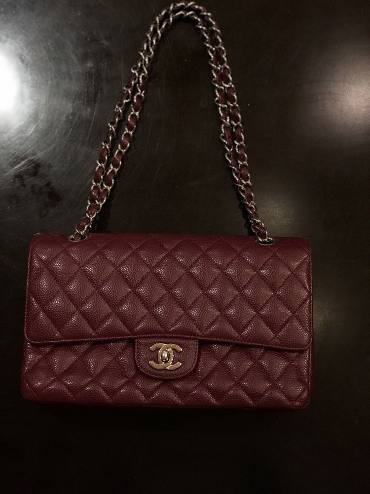 c01cb1cb306743 Chanel Dark Red Burgundy Caviar Medium Double Flap Bag | Designer ...
