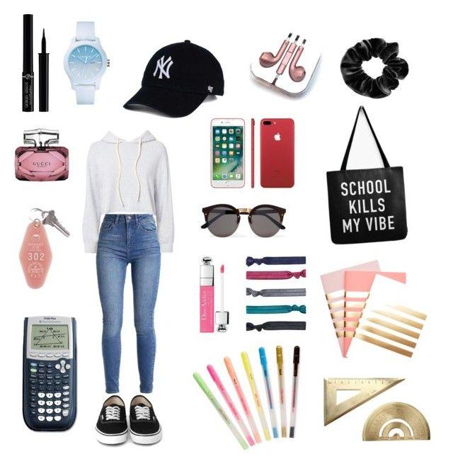 """School"" by sofiatfranco on Polyvore featuring Monrow, Giorgio Armani, Gucci, Lacoste, Illesteva, PhunkeeTree, claire's, Accessorize, StudioSarah and ban.do"