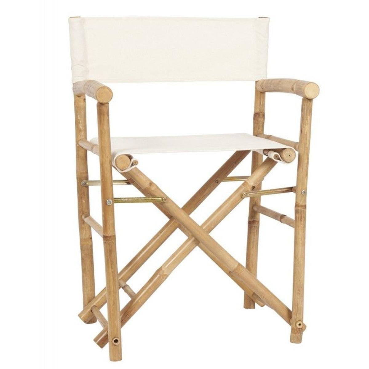 Chaise Pliante Avec Accoudoirs Bois Bambou Naturel Toile Taille Taille Unique Chaise Pliante Bois Chaise Pliante Chaise