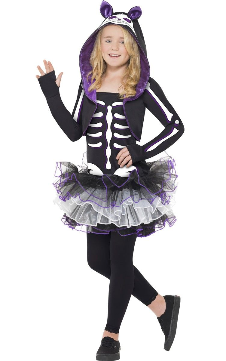 u003cpu003eSuper cute black and purple skelly cat fancy dress girls costume by Smiffys. Become a skeleton kitty this Halloween and use your cat like senses to find ...  sc 1 st  Pinterest & Skelly Cat Girls Halloween Costume | Pinterest | Cat fancy dress ...