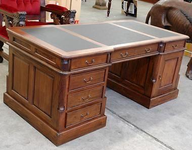 Bureau de notaire cm meuble en bois acajou medecin avocat style