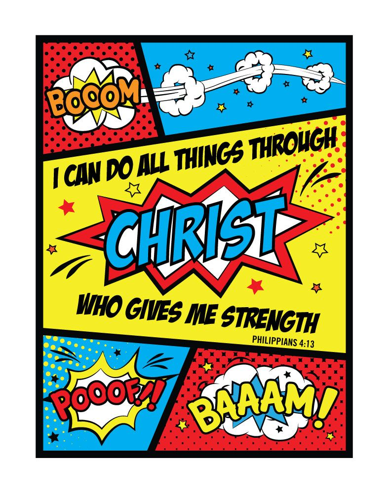 I Can Do All Things Through Christ Who Gives Me Strength Philippians 413 Fun Comic Themed Print That Every Boy Would Love To Have In Their Room