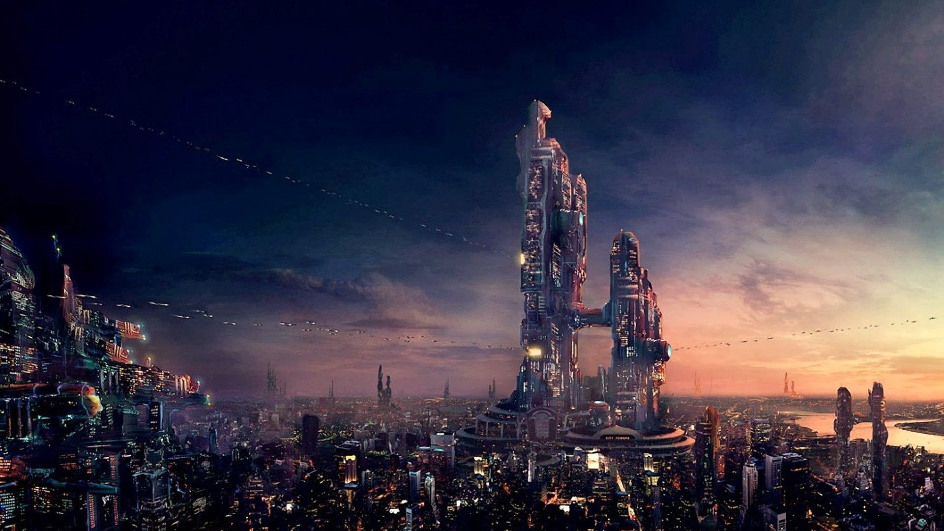 Building Digital Wallpaper Futuristic City Sky Science Fiction Artwork Cityscape Digital Art 1080p Wallpape Digital Wallpaper Futuristic City Hd Wallpaper