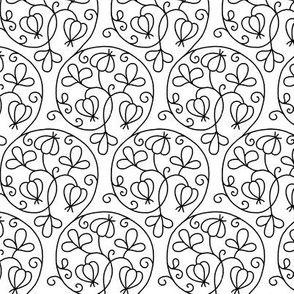 Swirly Elizabethan Floral Blackwork by sidney_eileen