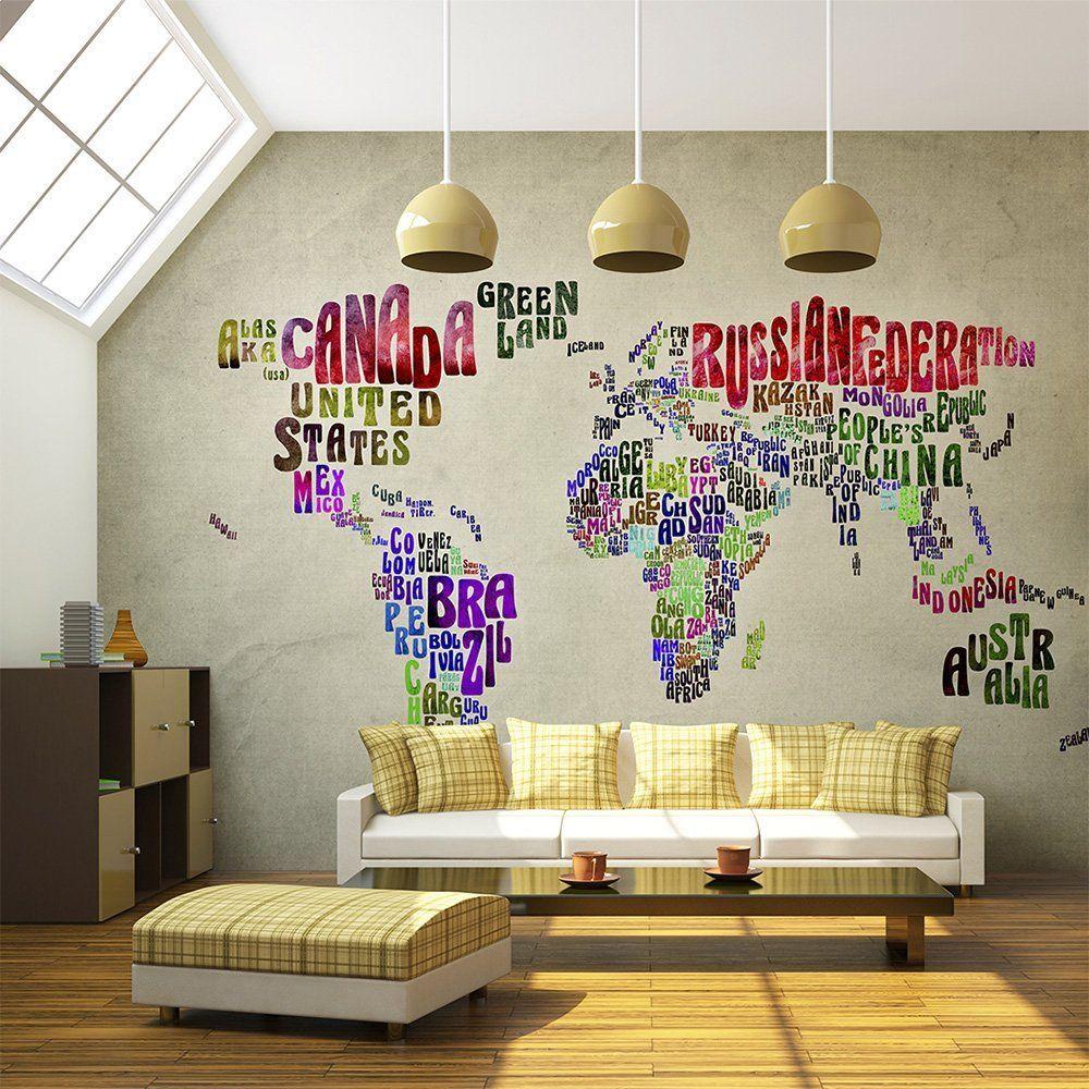 vlies tapete top fototapete wandbilder xxl 200x154 cm weltkarte 10040910 6. Black Bedroom Furniture Sets. Home Design Ideas