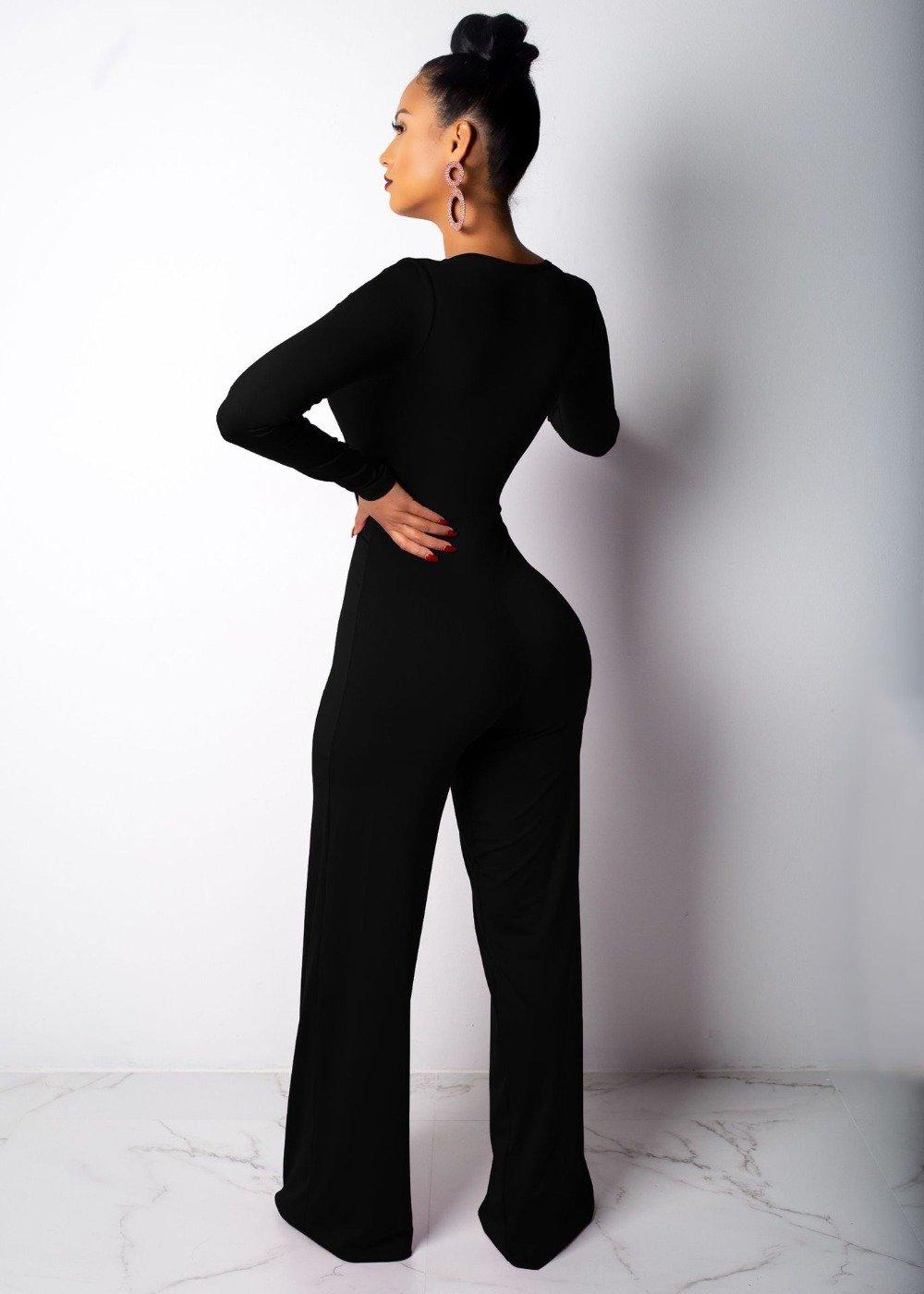1d1399ef0ca2 Fashion Deep V-Neck Wide Leg Jumpsuit | FADDI JUMPSUITS | Jumpsuit ...