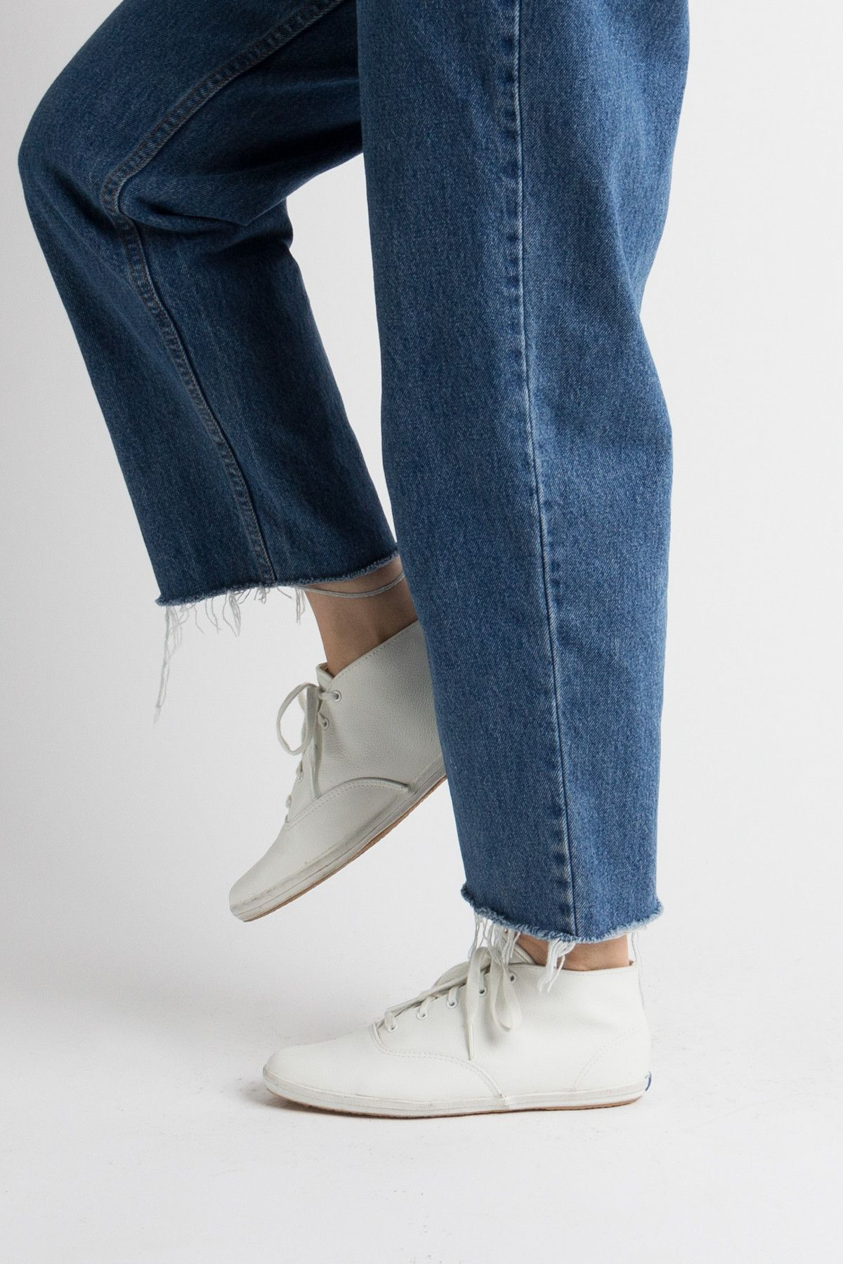 Vintage 80s White Leather High Top Keds