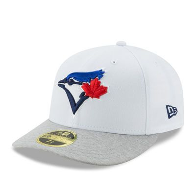 8ce99644cb7d2 Men s New Era White Heathered Gray Toronto Blue Jays Tech Sweep Low Profile  59FIFTY Fitted Hat
