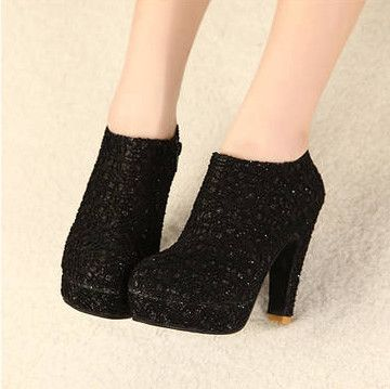 graceful black lace round closed toe chunky super high