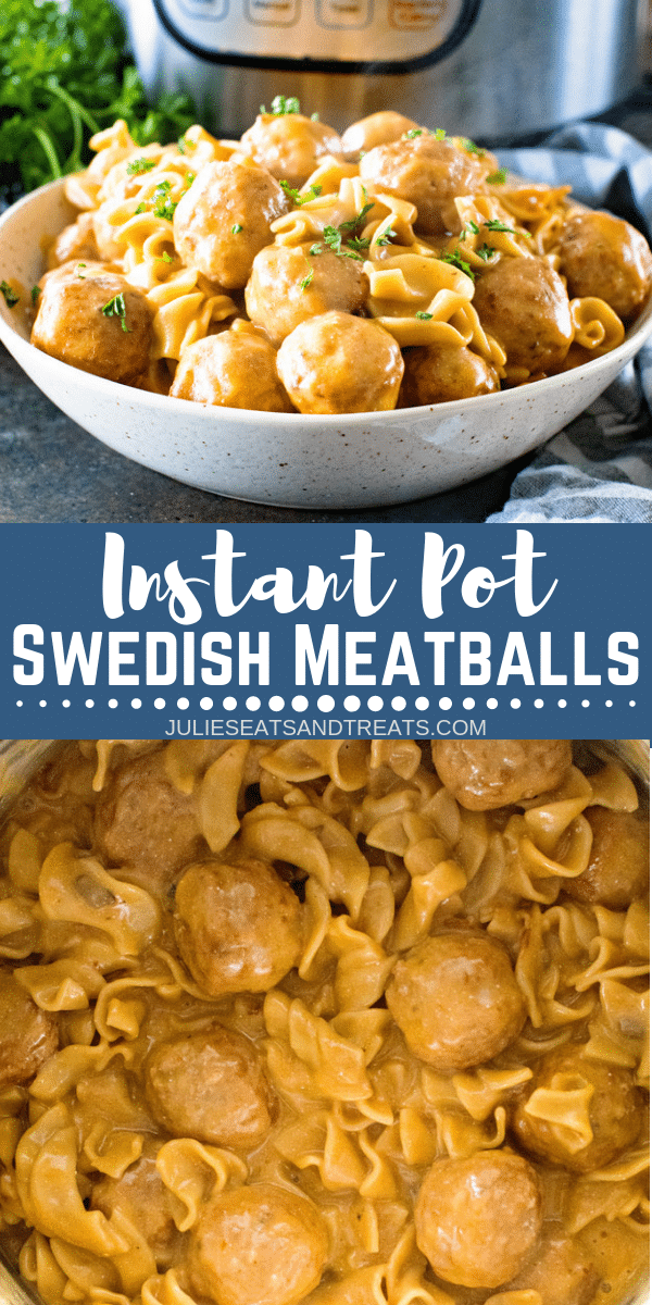 Quick and Easy Swedish Meatballs made in your Pressure Cooker! This dinner recipe for easy Swedish Meatballs is made in an Instant Pot for a hands off dinner. You will cook your meatballs, egg noodles and gravy all in the pressure cooker for a one pot meal! #julieseatsandtreats #swedishmeatballs #instantpot #pressurecooker #meatballs #dinner #instantpotrecipe #recipe #dinnerrecipe #comfortfood #easyrecipe via @julieseats #eggmeals