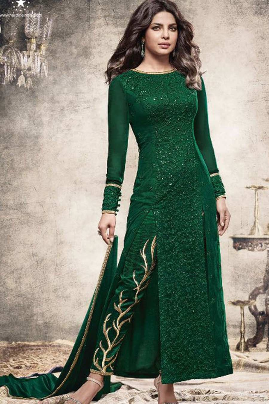 Green Georgette Semi Stitch Designer Dress | Designer Dress ...