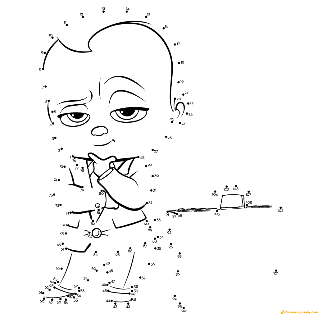 The Boss Baby Connect The Dots Coloring Page Baby Coloring Pages Boss Baby Coloring Pages