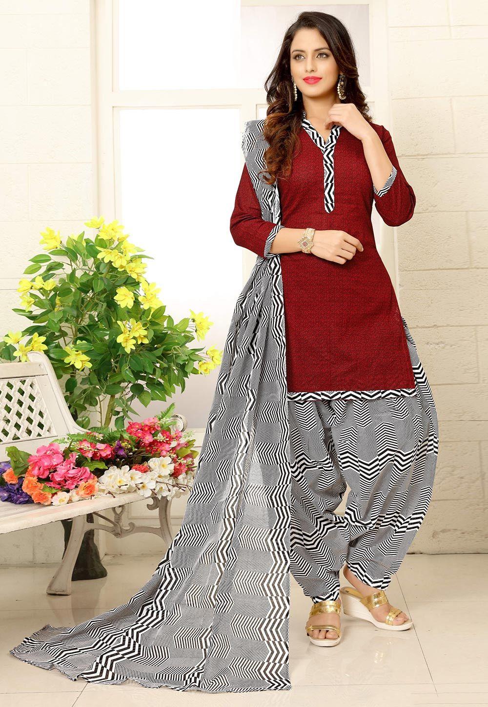 Printed Cotton Punjabi Suit In Maroon Cotton Dress Pattern