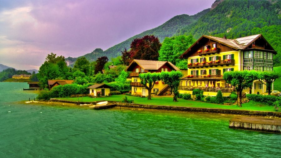 This lake is neaar Salzburg-Austria I was take this Photo after rain by merge three exposion togther..